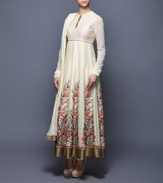 Ivory Digitally Printed Chanderi & Voile Anarkali Suit #Balance By #Rohit #Bal at #Indianroots
