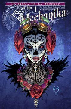 Lady Mechanika: La Dama de la Muerte # 1 - Variant Cover by Joe Benitez and Sabine Rich Lady Mechanika, Steampunk Kunst, Steampunk Book, Steampunk Artwork, Comics Anime, Bd Comics, Comic Book Covers, Comic Books Art, Dark Fantasy Art