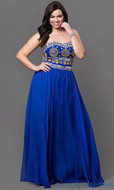 DQ-9247P - Plus-Size Long Formal Prom Dress with Beaded Bodice ...