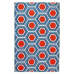 Home Decorators Collection Castleberry Navy and Coral 5 ft. x 8 ft. Area Rug  on  Daily Rug Deals