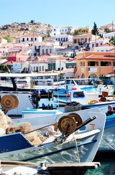 away of Rodos city, with a population of 300 people or so, chalki is just wonderful. Paros, Greek Cruise, Beautiful World, Beautiful Places, Greece Islands, Santorini Greece, Crete, Fishing Boats, Continents