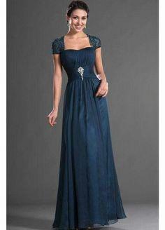 629dc5b1c10a Beaded Lace Cap Sleeve Floor Length Draped Chiffon Mother of the Bride Dress