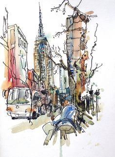 New York sketch Empire State, New York City Art Print from a watercolor sketch archival print - Skizze der New York Empire State, New York City Art Print aus einem Aquarell-Skizze archivalische D - Urban Sketchers, New York City, Map Of New York, Empire State, City Art, Art Sketches, Art Drawings, Art Du Croquis, New York Poster