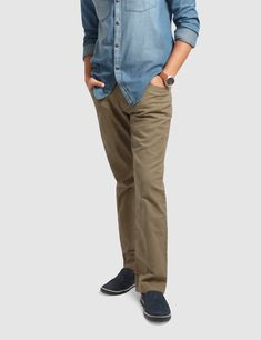These slim fit chinos give you a smarter look for all occasions whether casual or formal. Our non-pleated pants feature 5 pockets, zip fly and a top button closure. These cotton chinos with keep you comfortable all year round. Mens Chino Pants, Denim Pants, Khaki Pants, Slim Fit Chinos, Pleated Pants, Denim Outfit, Wholesale Clothing, Pockets, Flat