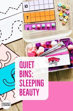 Quiet Bins are individual fine motor task boxes with a storybook theme - explore vocabulary, pictures, and story quotes from Sleeping Beauty.