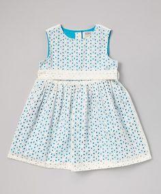 Another great find on #zulily! White & Blue Eyelet Dress - Infant, Toddler & Girls by Rim Zim Kids #zulilyfinds