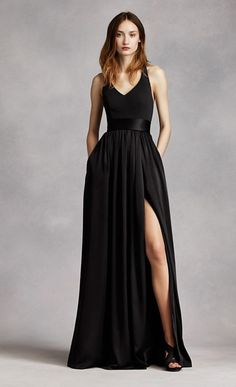 An exquisite gown that is perfect for a wedding party or any special event! V-neck halter gown with matte crepe bodice features bow detail at back. Long soft charmeuse skirt with middle slit and trapunto-stitched satin sash finishes off the look Pretty Dresses, Beautiful Dresses, Black Wedding Gowns, Ivory Wedding, Dress Wedding, Black Bridesmaids, Bridesmaid Gowns, Long Purple Bridesmaid Dresses, Evening Dresses