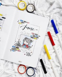 monthly_bujo sur Instagram: Kawaii June cover page! I can't handle the cuteness 🤩🤩💖💖 This theme definitely suitable for all of us who are still in quarantine...stay…