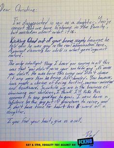 A mother disowned her son for being gay. So his grandfather wrote her this letter, disowning her.