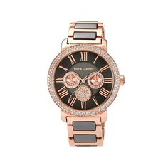 Vince Camuto Women's Rosetone and Gunmetal-Tone Dial Multifunction Bracelet Watch Embellished with Crystals from Swarovski