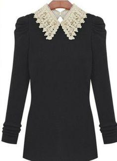 Black Contrast Bead Collar Long Sleeve Knit Sweater US$22.62