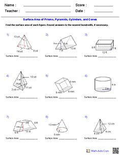 Prisms and Cylinders Surface Area Worksheets   Math-Aids.Com ...