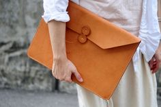Hand Stitched Tan Color Leather Mac Book Pro Laptop Case/ Clutch. on Etsy.
