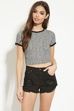 Style Deals - A short-sleeved crop top crafted from ribbed knit with contrast trim.