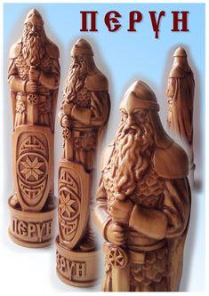 Автор Казьмина Юлия. Славянский бог Перун. Дерево, патина, лак. высота 20см.
