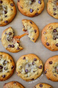 Caramel-Stuffed Chocolate Chip Cookies recipe via justataste.com | The best soft and chewy cookies filled with gooey caramel!