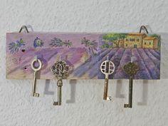 Schluesselbrett mit Lavendelmotiv,Weiteres unter www.recyclingkunst.wordpress.com