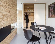 open haard, multiplex, ingewerkte keuken