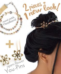 """Lilla Rose Two pieces = One new look """"Lilla Rose Mixed Metals Headband"""" plus """"Lilla Rose Open Flower You Pins"""" Beautiful Hair Jewelry> http://www.lillarose.biz/LindaShelby"""