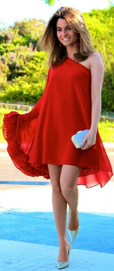 Limoneta Red Asymmetric Ruffle Dress by Oh my Looks