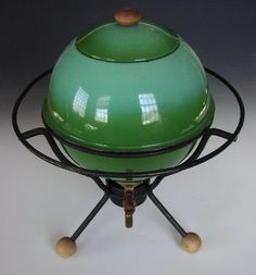 green mid century futuristic enameled fondue or cider pot