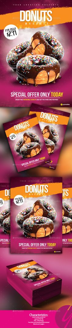 Donuts Madness Flyer — PSD Template #bubble gum #offer • Download ➝ https://graphicriver.net/item/donuts-madness-flyer/17898141?ref=pxcr