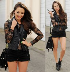 Fredericks Of Hollywood Lace Bodysuit, Vivilli Faux Leather Moto Vest, Nasty Gal Fringe Bucket Bag