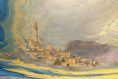 Hikmet Barutçugil Ebru Art, Turkish Art, Marble Art, Caligraphy, Islamic Art, Istanbul, Basket, Painting, Collection