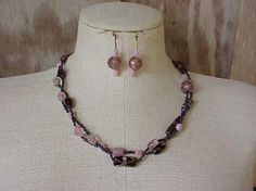 Handcrafted glass beaded necklace and earrings, purple and pink