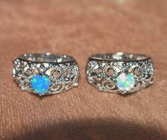 fire opal ring gems silver jewelry 5.5 6 7.5 Victorian vng style engagement band