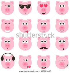 pig smiley faces set