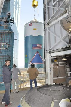 Interstate being hoisted. United Launch Alliance Delta 2 Rocket stacking (assembly) prior to launching OCO2 satelite. Credit NASA