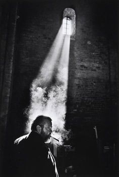 Orson Welles on the set of Chimes of Midnight