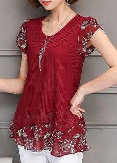 Printed Round Neck Short Sleeve Layered Blouse on sale only US$30.64 now, buy cheap Printe d Round Neck Short Sleeve Layered Blouse at liligal.com