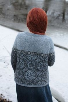 This is her own design, no pattern available. Look at her project page on Ravelry. The photos of this sweater and others are beautiful, as is the knitter! Ravelry: VirginijaSan's Vatnajökull. Ice. Stone. Water