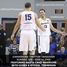 Santa Cruz Warriors players Seth Curry and Mychel Thompson, brothers of guards Stephen Curry and Klay Thompson, are taking over our Twitter during tonight's game against the Suns. #SCSplashBrothers