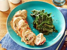 Keep the taste of Cordon Bleu (without the heavy breading) in Rachael's stuffed chicken dish.