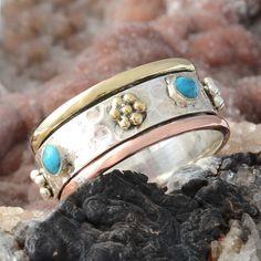 MODERN 925 STERLING SILVER TURQUOISE RING 6.58g DJR9844 SZ-10 #Handmade #Ring