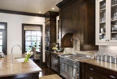 """I like the dark and light cabinets. I like the cream countertops"