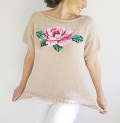 Coton Powder Pink Hand Knitted Sweater with Roses Pattern Plus