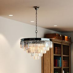 5 Tier Black Nickel Chrome Odeon clear prism glass crystal chandelier lighting