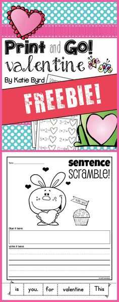 FREE printable practice pages for valentine fun in kindergarten!  (Mrs. Byrd's Learning Tree)