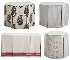 Sikes A skirted table brings instant glamour to any room. We often see the use of these tables in entry ways, hallways, fo. Entrance Table, Hall Tables, House Entrance, Mark Sikes, Skirted Table, Hallway Decorating, Table Covers, Soft Furnishings, Table Linens