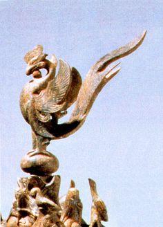 봉황 Model House Plan, Korean Art, Metal Projects, Mythical Creatures, Occult, Fantasy Art, Lion Sculpture, Asia, Carving
