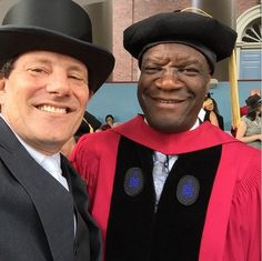 A selfie with one of my heroes, Dr. Denis Mukwege, at the Harvard commencement as he receives an honorary degree for his heroic work on behalf of women in Congo.