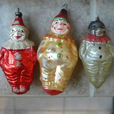 3 ANTIQUE Vtg Glass Xmas Ornaments BOY CLOWN Figural Germany German