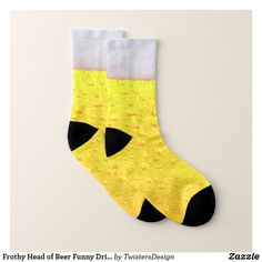 Shop Frothy Head of Beer Funny Drinking Socks created by TwistersDesign. Personalize it with photos & text or purchase as is! Sock Shop, Hat Shop, Beer Humor, Beer Funny, Beer Socks, Pint Of Beer, Funky Socks, Your Design, Comfy