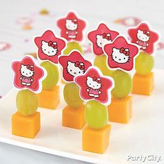 A cheesy snack is always a fave! Skewer cheese and grapes with Hello Kitty Fun Picks! Easy and delicious!