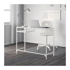 VITTSJÖ Laptoptisch - weiß/Glas - IKEA