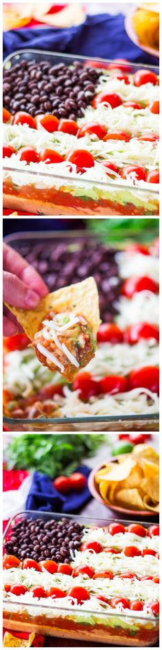 This Lightened Up 7 Layer Dip is the perfect party food. Use Plain Nonfat Greek Yogurt instead of sour cream, nonfat beans & low cal cheese 4th Of July Desserts, 4th Of July Food Sides, Fourth Of July Recipes, Fourth Of July Drinks, 4th July Food, 4th Of July Party, 4th Of July Ideas, 4th Of July Celebration, Patriotic Party